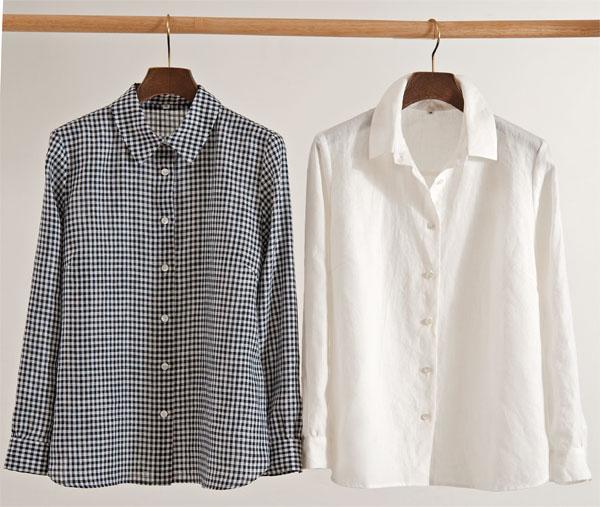 ギンガム白黒リネンシャツ Mサイズ